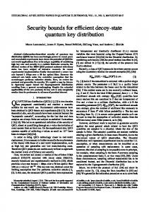 Security bounds for efficient decoy-state quantum key distribution - arXiv