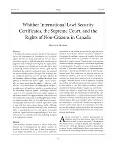 Security Certificates, the Supreme Court, and the ... - (SSRN) Papers