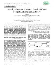 Security Concerns at Various Levels of Cloud Computing Paradigm: A ...