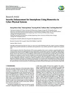Security Enhancement for Smartphone Using Biometrics in Cyber ...