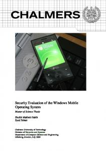Security Evaluation of the Windows Mobile Operating System