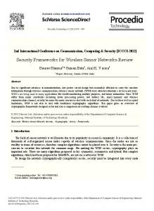 Security Frameworks for Wireless Sensor Networks-Review