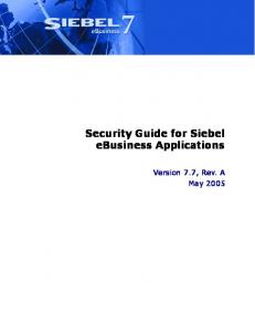 Security Guide for Siebel eBusiness Applications - Oracle ...
