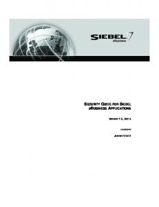 Security Guide for Siebel eBusiness Applications - Writersplus.com