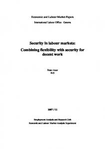 Security in labour markets: Combining flexibility with ... - CiteSeerX