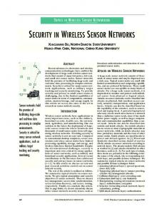 security in wireless sensor networks - IEEE Xplore