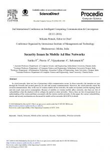 Security Issues in Mobile Ad Hoc Networks - CyberLeninka
