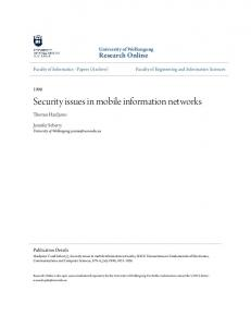 Security issues in mobile information networks - Research Online - UOW