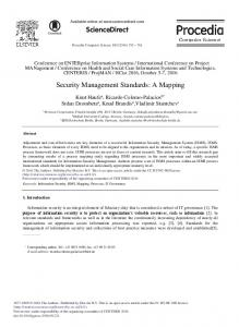 Security Management Standards: A Mapping