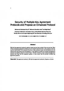 Security of Multiple-Key Agreement Protocols and Propose an ...