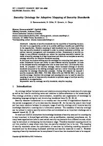 Security Ontology for Adaptive Mapping of Security Standards 1 ...