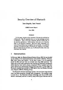 Security Overview of Bluetooth - Security Science