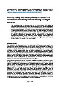 Security Policy and Developments in Central Asia