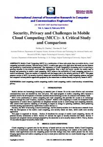 Security, Privacy and Challenges in Mobile Cloud Computing (MCC ...