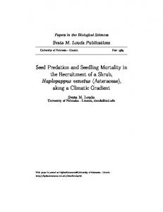 Seed Predation and Seedling Mortality in the