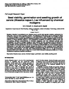 Seed viability, germination and seedling growth of