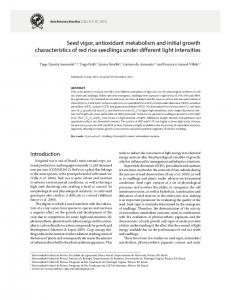Seed vigor, antioxidant metabolism and initial growth characteristics of ...