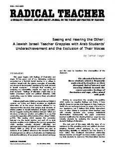 Seeing and Hearing the Other: A Jewish Israeli ... - Radical Teacher