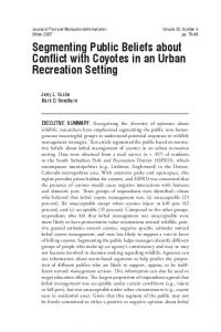 Segmenting Public Beliefs about Conflict with Coyotes in an Urban ...