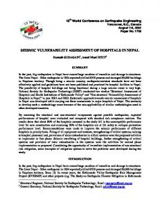 Seismic Vulnerability Assessment of Hospitals in Nepal