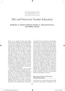 SEL and Preservice Teacher Education