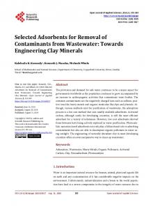 Selected Adsorbents for Removal of Contaminants from Wastewater