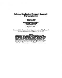 Selected Intellectual Property Issues in ... - Semantic Scholar