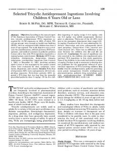 Selected Tricyclic Antidepressant Ingestions ... - Wiley Online Library