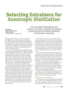 Selecting Entrainers for Azeotropic Distillation