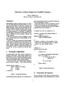 Selecting Locking Designs for Parallel Programs