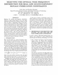 selecting the optimal time-frequency distribution for real ... - IEEE Xplore