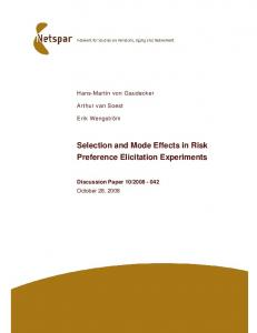 Selection and Mode Effects in Risk Preference ...