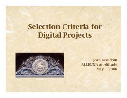 Selection Criteria for Digital Projects