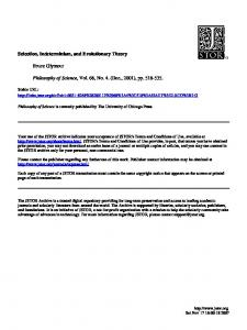 Selection, Indeterminism, and Evolutionary Theory - Kansas State ...