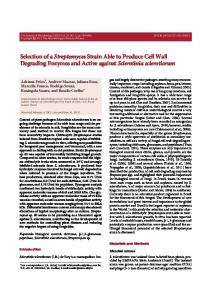 Selection of aStreptomycesstrain able to produce cell wall degrading ...
