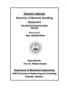 Selection of Material Handling Equipment