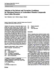 Selection of the Solvent and Extraction Conditions for Maximum ... - Core