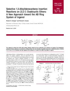 Selective 1,5-Alkylidenecarbene Insertion Reactions on - American ...