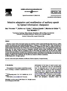 Selective adaptation and recalibration of auditory ... - Beatrice de Gelder