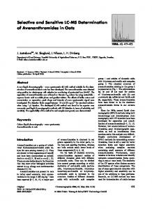 Selective and Sensitive LC-MS Determination of ... - Springer Link