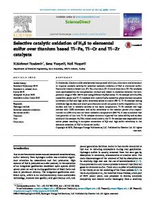Selective catalytic oxidation of H2S to elemental sulfur