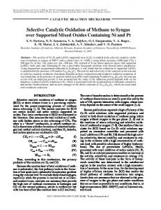 Selective Catalytic Oxidation of Methane to Syngas over Supported ...