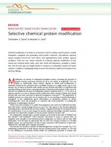 Selective chemical protein modification - Nature