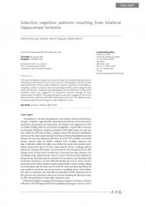 Selective cognitive patterns resulting from bilateral hippocampal ...