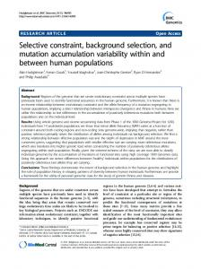 Selective constraint, background selection, and mutation accumulation ...