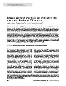 Selective control of endothelial cell proliferation with a ... - Nature