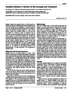 Selective Mutism: A Review of the Concept and ...