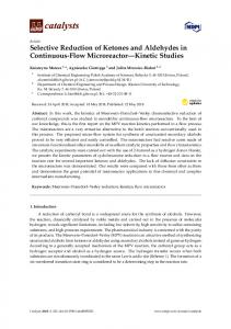 Selective Reduction of Ketones and Aldehydes in Continuous ... - MDPI