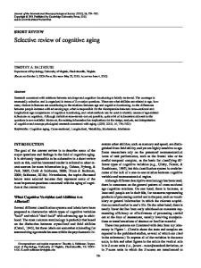 Selective review of cognitive aging - Faculty Virginia - University of ...