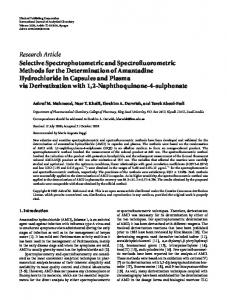 Selective Spectrophotometric and ... - BioMedSearch